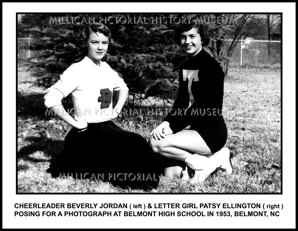 official photos 82769 3d121 Cheerleader Beverly Jordan ( left )   Letter Girl Patsy Ellington ( right )  posing for a photograph at Belmont High School in 1953, Belmont, NC