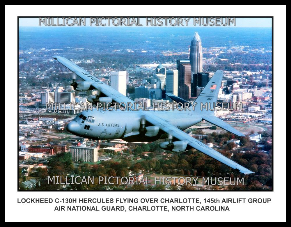 Lockheed C-130H Hercules flying over Charlotte, 145th Airlift Group Air  National Guard, Charlotte, NC