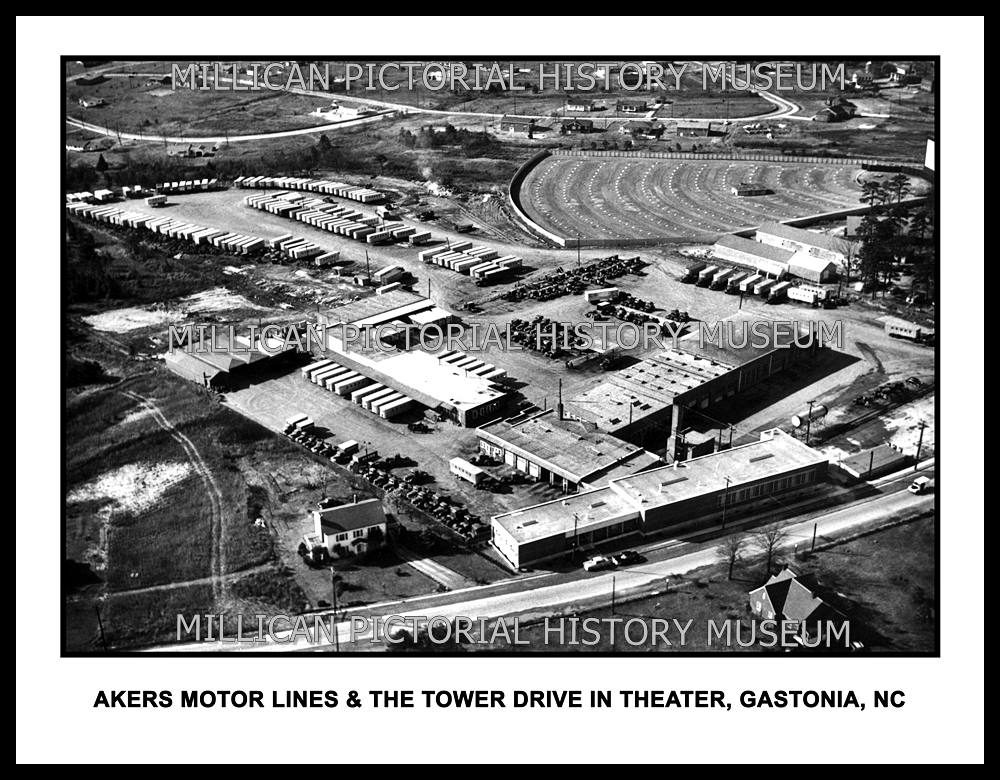 Akers Motor Lines Tower Drive In Theater Akers Shopping Center Gastonia Nc Millican Pictorial History Museum