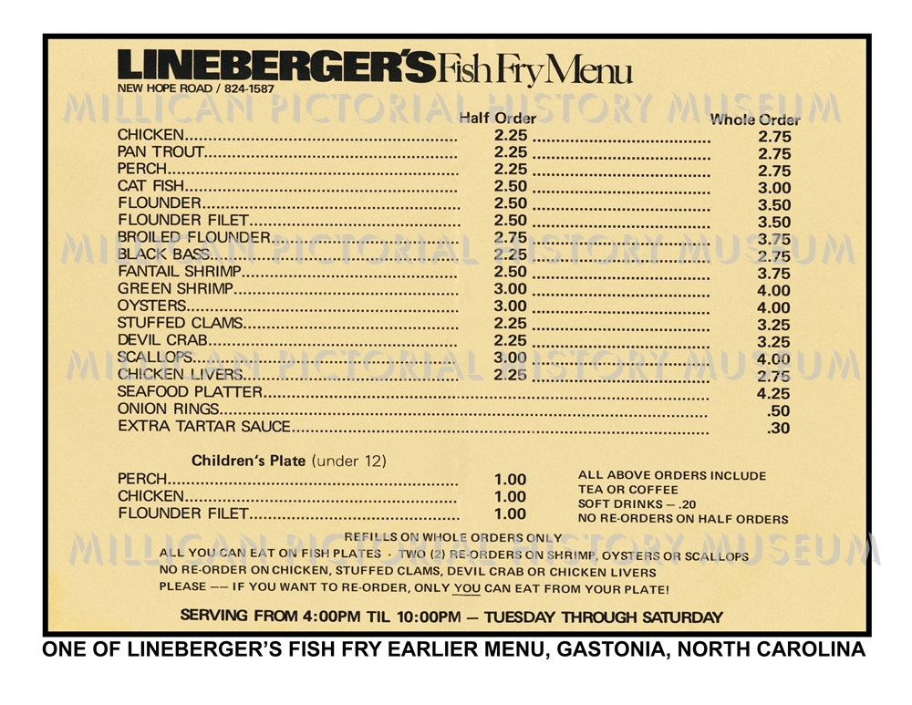 One of the lineberger fish fry earlier menu gastonia nc for Fish fry menu