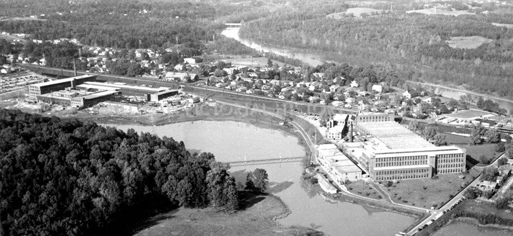 Aerial view of The Mays & Mayflower Mills in 1950, Cramerton, North Carolina