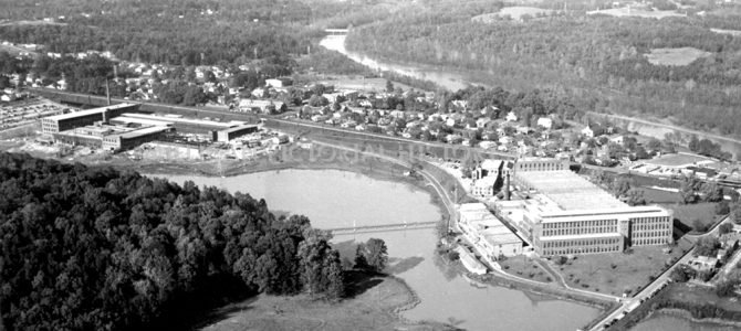 Aerial view of The Mays & Mayflower Mills in 1950, Cramerton, North Carolina